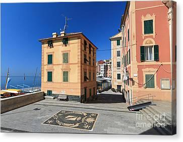 Canvas Print featuring the photograph small square in Sori by Antonio Scarpi
