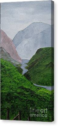 Canvas Print featuring the painting Small Stream In The Hills by Susanne Baumann