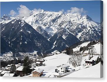 Vorarlberg Canvas Print - Small Town In Austria In Winter - Beautiful Mountain Landscape by Matthias Hauser