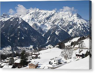 Small Town In Austria In Winter - Beautiful Mountain Landscape Canvas Print by Matthias Hauser