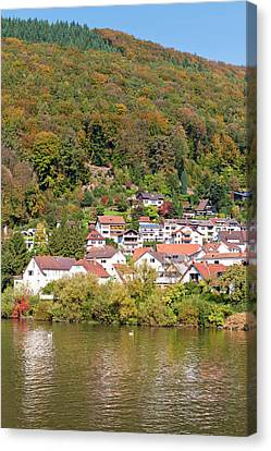 Small Town On The Neckar River, Germany Canvas Print by Michael Defreitas