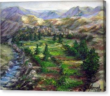 Canvas Print featuring the painting Village In The Mountain  by Laila Awad Jamaleldin