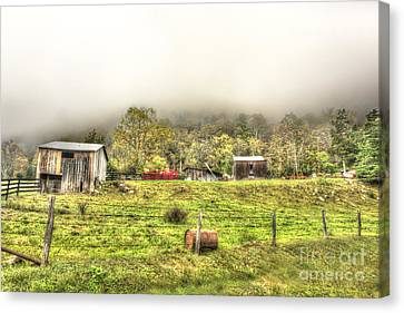 Smalll West Virginia Farm Coming Out Of Clouds Canvas Print by Dan Friend