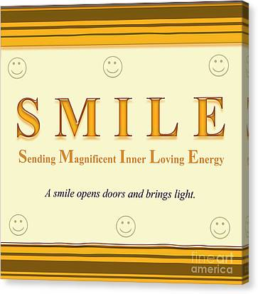 Smile Buseyism By Gary Busey - Original Typography Artwork Canvas Print by Buseyisms Inc Gary Busey
