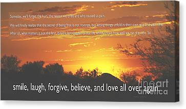 Smile Laugh Forgive Canvas Print by Nancy E Stein