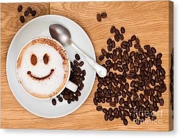 Coffee Beans Canvas Print - Smiley Face Coffee by Amanda Elwell