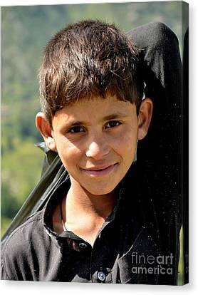 Canvas Print featuring the photograph Smiling Boy In The Swat Valley - Pakistan by Imran Ahmed