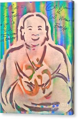 Smiling Brown Buddha  Canvas Print by Tony B Conscious