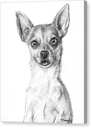 Smiling Chihuahua In Charcoal Canvas Print by Kate Sumners