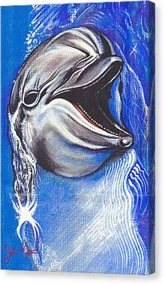 Smiling Dolphin Canvas Print by John Keaton
