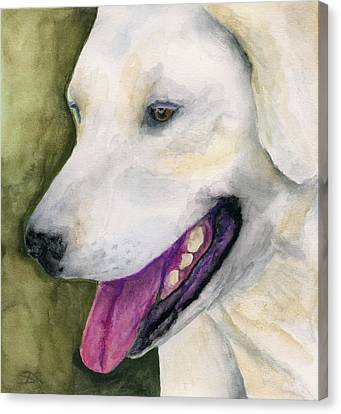 Canvas Print featuring the painting Smiling Lab by Stephen Anderson