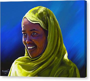 Canvas Print featuring the painting Smiling Lady by Anthony Mwangi