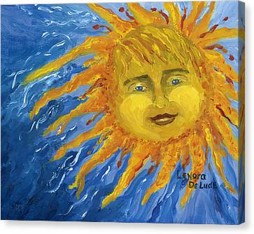 Smiling Yellow Sun In Blue Sky Canvas Print by Lenora  De Lude