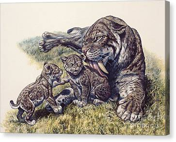 Smilodon Sabertooth Mother And Her Cubs Canvas Print