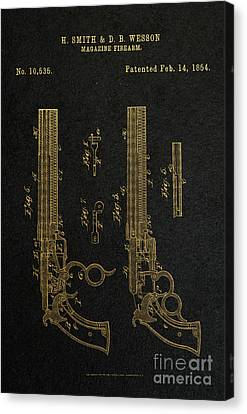 1854 Smith And Wesson Magazine Firearm Patent Art 2 Canvas Print by Nishanth Gopinathan