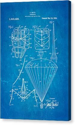Smith Parachute Patent Art 1920 Blueprint Canvas Print by Ian Monk