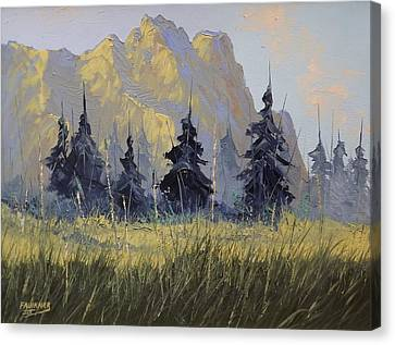 Canvas Print featuring the painting Smith Rock Oregon by Richard Faulkner