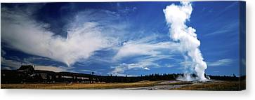 Smoke Erupting From A Geyser, Old Canvas Print by Panoramic Images