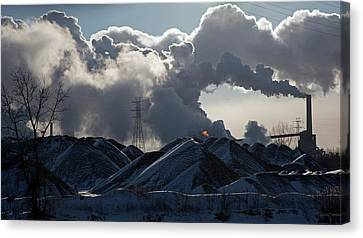 Smoke Rising From A Steel Mill Canvas Print