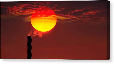Smoke Stack In Sunset Canvas Print by Panoramic Images