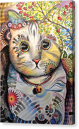 Smokey ... Abstract Cat Art Canvas Print by Amy Giacomelli