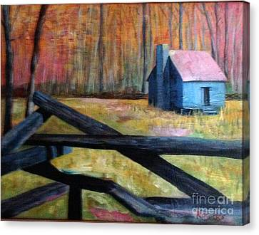 Smokey Mounain Cabin Canvas Print by Rebecca Myers