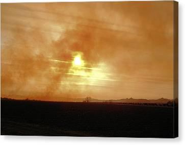 Canvas Print featuring the digital art Smokey Sunset by Aliceann Carlton