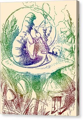 Smoking Caterpillar Alice In Wonderland Canvas Print by