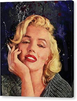 Smoking Marilyn Canvas Print by John Farr