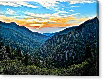 Smoky Mountain Sunset Canvas Print by Frozen in Time Fine Art Photography
