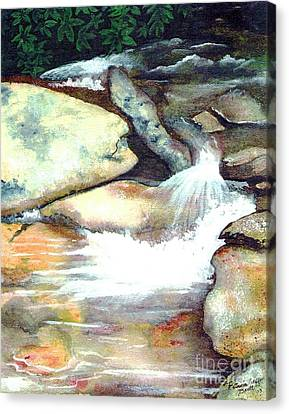Canvas Print featuring the painting Smoky Mountains Waterfall by Patricia Griffin Brett
