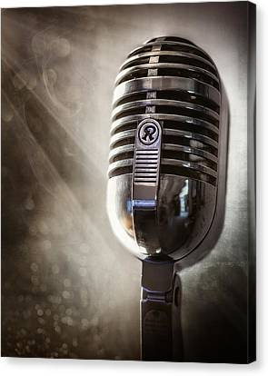 Broadcast Canvas Print - Smoky Vintage Microphone by Scott Norris