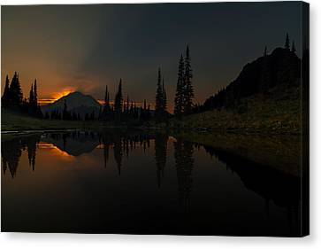 Smoldering Rainier Canvas Print by Mike Reid