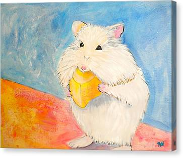 Gerbil Canvas Print - Snack Time by Debi Starr