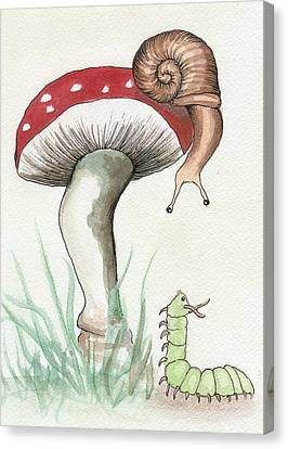 Snail And Caterpillar Canvas Print by Melissa Rohr Gindling