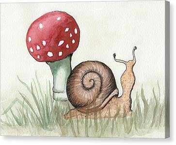 Snail And Mushroom Canvas Print by Melissa Rohr Gindling