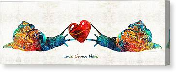 Snail Art - Love Grows Here - By Sharon Cummings Canvas Print by Sharon Cummings