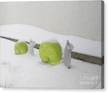 Snails In Snow Canvas Print by Art Photography