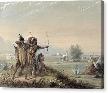 Snake Indians Testing Bows Canvas Print by Alfred Jacob Miller