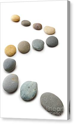 Snaking Line Of Twelve Pebbles Steps Isolated Vertical Canvas Print by Colin and Linda McKie