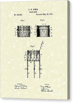 Snare Drum 1886 Patent Art Canvas Print by Prior Art Design