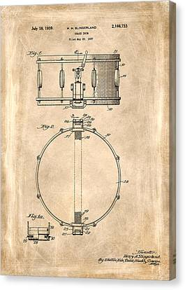 Snare Drum Patent 1939 Canvas Print by Mark Rogan