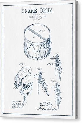 Snare Drum Patent Drawing From 1889 - Blue Ink Canvas Print by Aged Pixel