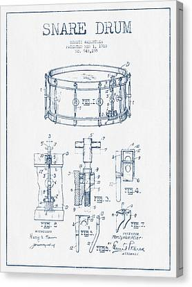 Snare Drum Patent Drawing From 1910  - Blue Ink Canvas Print by Aged Pixel