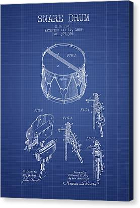 Snare Drum Patent From 1889- Blueprint Canvas Print by Aged Pixel
