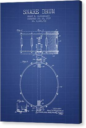 Snare Drum Patent From 1939 - Blueprint Canvas Print by Aged Pixel