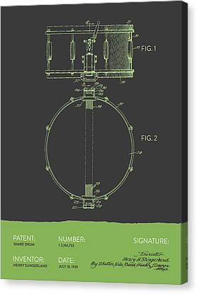 Snare Drum Patent From 1939 - Gray Green Canvas Print by Aged Pixel