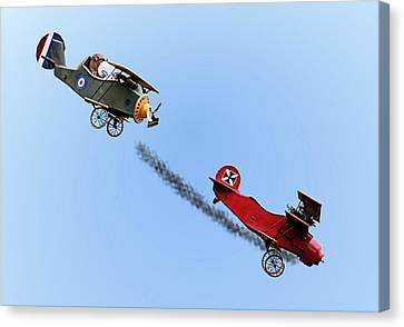 Snoopy And The Red Baron Canvas Print by Kristin Elmquist