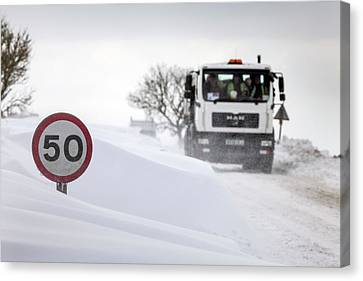 Snow Along Country Road Canvas Print by Alex Hyde