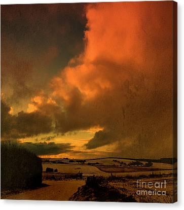 Snow And Fire Canvas Print by Liz  Alderdice